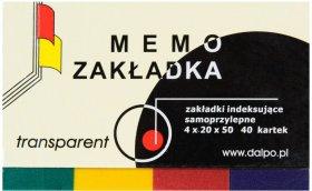 Zakładki samoprzylepne Dalpo proste, indeksujące, folia, transparentne, 20x50mm, 4x40 sztuk, mix kolorów