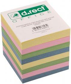 Kostka do notowania D.Rect, nieklejona, 85x85x80mm, 800 kartek, mix kolorów pastelowych