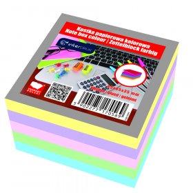 Kostka do notowania Interdruk, klejona, 85x85x35mm, 350 kartek, mix kolorów