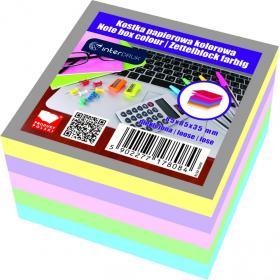 Kostka do notowania Interdruk, nieklejona, 85x85x35mm, 350 kartek, mix kolorów, pastelowy