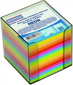 Pojemnik z kolorowymi karteczkami Donau, 95x95x95mm, 800 karteczek, transparentny