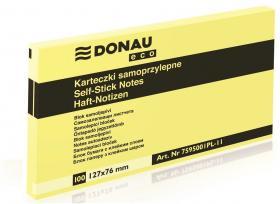 Notes samoprzylepny Donau Eco, 127x76mm, 100 karteczek, jasnożółty pastelowy