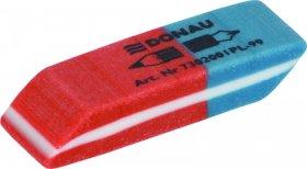 Gumka wielofunkcyjna Donau, 40x14x8mm, czerwono-niebieski