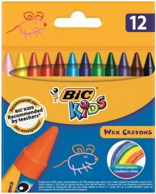Kredki świecowe Bic Wax Crayons, 12 kolorów