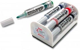 Marker suchościeralny Pentel Maxiflo, okrągła, 4 sztuki, 6mm, mix kolorów + gąbka