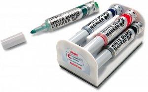 Marker suchościeralny Pentel Maxiflo MWL5M, z tłoczkiem, okrągła, 4 sztuki, 6mm, mix kolorów + gąbka magnetyczna