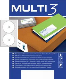 Etykiety na płyty CD/DVD MULTI 3, 117mm, 100 arkuszy, biały