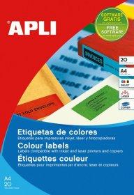 Etykiety kolorowe Apli, 210x297mm, 20 arkuszy, żółty