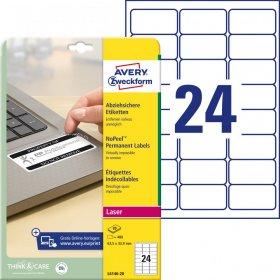 Etykiety Avery Zweckform NoPeel, 63.5x33.9mm, 20 arkuszy, biały