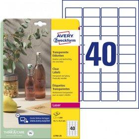 Etykiety oznaczeniowe Crystal Clear  Avery Zweckform, 45.7x25.4mm, 25 arkuszy, przezroczysty