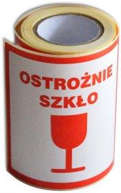 Etykiety na rolce Dalpo, z nadrukiem 'Ostrożnie szkło', 100x100mm, 100 sztuk, biały z czerwonym nadrukiem