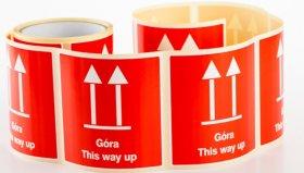 Etykiety na rolce Dalpo, z nadrukiem 'Góra/This Way Up', 100x100mm, 100 sztuk, biały z czerwonym nadrukiem