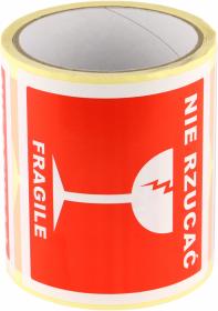 Etykiety na rolce Dalpo, z nadrukiem 'Nie rzucać/Fragile', 100x100mm, 100 sztuk, biały z czerwonym nadrukiem