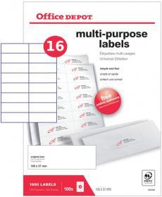 Etykiety uniwersalne Office Depot, 105x37.1mm, 100 arkuszy, biały