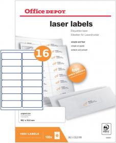 Etykiety do drukarek laserowych Office Depot 99 x 33.8 mm 100 ark.