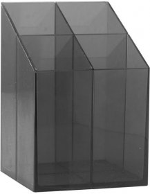 Przybornik na biurko Ico, z przegrodami, 75x75x110mm, czarny