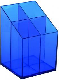 Przybornik na biurko Ico, z przegrodami, 75x75x110mm, niebieski