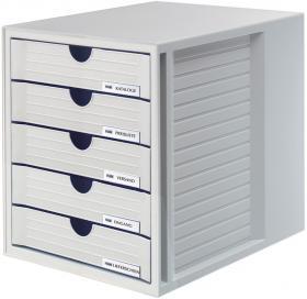 Pojemnik Han, System-Box, z 5 szufladami, do dokumentów, A4, szary