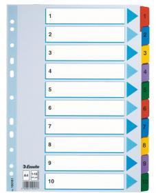 Przekładki kartonowe numeryczne z kolorowymi indeksami Esselte Mylar, A4, 1-10 kart, mix kolorów