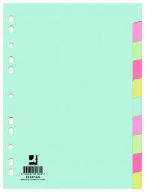 Przekładki kartonowe gładkie z kolorowymi indeksami Q-Connect, A4, 10 kart, mix kolorów
