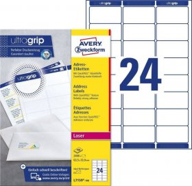 Etykiety adresowe Avery Zweckform QuickPeel, 63.5 x 33.9 mm, 100 arkuszy, biały