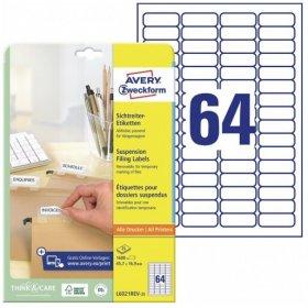 Etykiety do teczek zawieszanych Avery Zweckform, 45.7x16.9mm, 25 arkuszy, biały