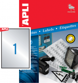 Etykiety poliestrowe Apli, 210x297mm, 20 arkuszy, srebrny