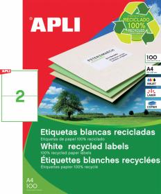 Etykiety ekologiczne uniwersalne Apli, 210x148mm, 100 arkuszy, biały