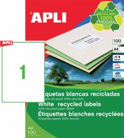 Etykiety ekologiczne uniwersalne Apli, 210x297mm, 100 arkuszy, biały