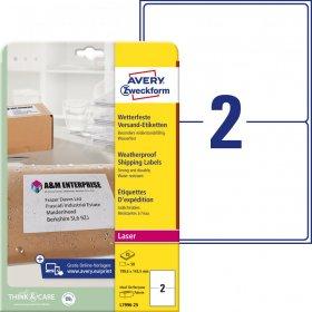 Etykiety wysyłkowe Avery Zweckform, odporne na zmiany pogodowe, 199,6x143,5mm, 25 arkuszy, biały