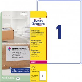 Etykiety wysyłkowe Avery Zweckform, odporne na zmiany pogodowe, 199,6x289,1mm, 25 arkuszy, biały