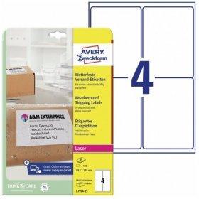 Etykiety wysyłkowe Avery Zweckform, odporne na zmiany pogodowe, 99,1x139mm, 25 arkuszy, biały