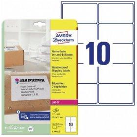 Etykiety wysyłkowe Avery Zweckform, odporne na zmiany pogodowe, 99,1x57mm, 25 arkuszy, biały