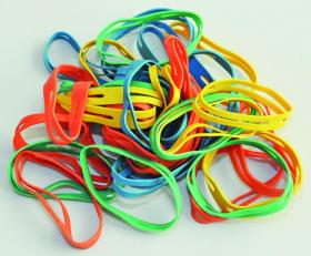 Gumki recepturki Q-Connect, krzyżowe, 50 mm, 100g, mix kolorów