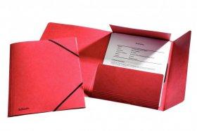 Teczka preszpanowa z narożną gumką Esselte, A4, 330g/m2, 4mm, czerwony