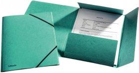 Teczka preszpanowa z narożną gumką Esselte, A4, 330g/m2, 4mm, zielony