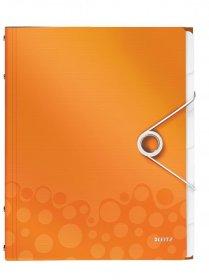Teczka segregująca Leitz Style, A4, 6 przekładek, metaliczny pomarańczowy