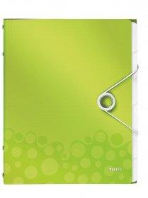 Teczka segregująca Leitz Wow, A4, 6 przegródek zielony