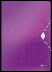 Teczka plastikowa z gumką Leitz Wow, A4, 15mm, metaliczny fioletowy
