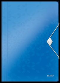 Teczka plastikowa z gumką Leitz Wow, A4, 15mm, metaliczny niebieski