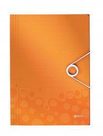 Teczka plastikowa z gumką Leitz Wow, A4, 15mm, metaliczny pomarańczowy