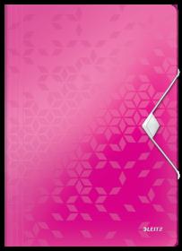 Teczka plastikowa z gumką Leitz Wow, A4, 15mm, metaliczny różowy