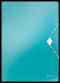 Teczka plastikowa z gumką Leitz Wow, A4, 15mm, metaliczny turkusowy