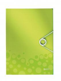 Teczka plastikowa z gumką Leitz Wow, A4, 15mm, metaliczny zielony