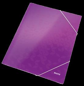 Teczka kartonowa z narożną gumką Leitz Wow, A4, 300g/m2, 3mm, fioletowy