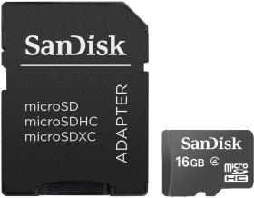 Karta pamięci MicroSDHC + Adapter SD SanDisk, 16GB