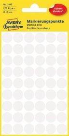 Etykiety Avery Zweckform, okrągłe, średnica 12mm, 270 sztuk, biały