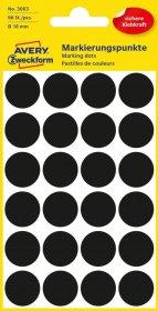 Etykiety oznaczeniowe Avery Zweckform, okrągłe, 18mm, 96 sztuk, czarny