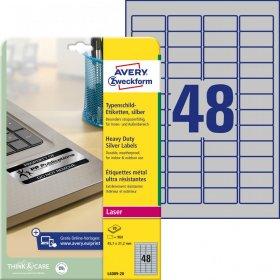 Etykiety znamionowe Avery Zweckform, 45.7x21.2mm, 20 arkuszy, srebrny