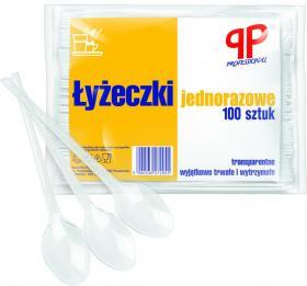 Łyżeczki jednorazowe PP Professional, gastronomiczne, plastik, 100 sztuk, transparentny
